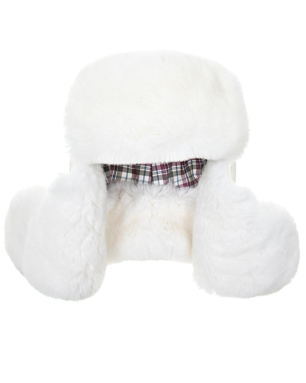 Купить Шапка-ушанка с мехом кролика Ploomlé детская, Кремовый, 100%Мех Кролика, 99%хлопок+1%эластан, 100%нейлон