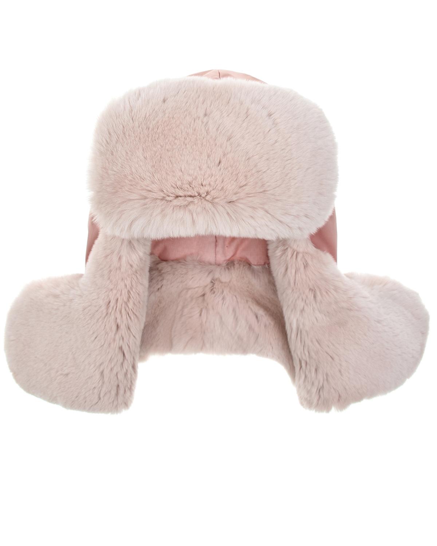Розовая шапка-ушанка с мехом кролика Ploomlé детская фото