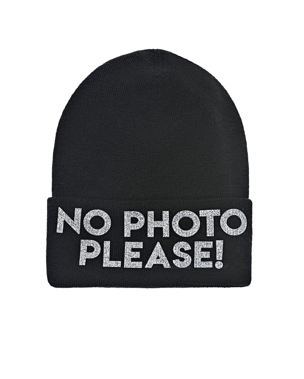 """Черная шапка из шерсти и кашемира с надписью """"No photo"""" Regina детская фото"""