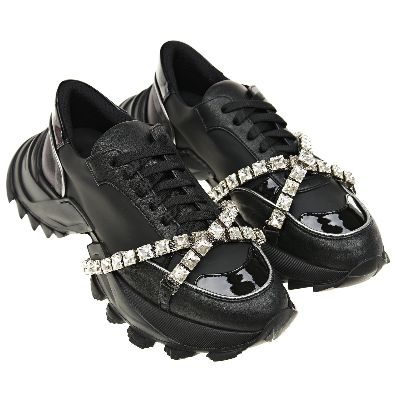 Черные кроссовки со стразами Simon Scott детские фото