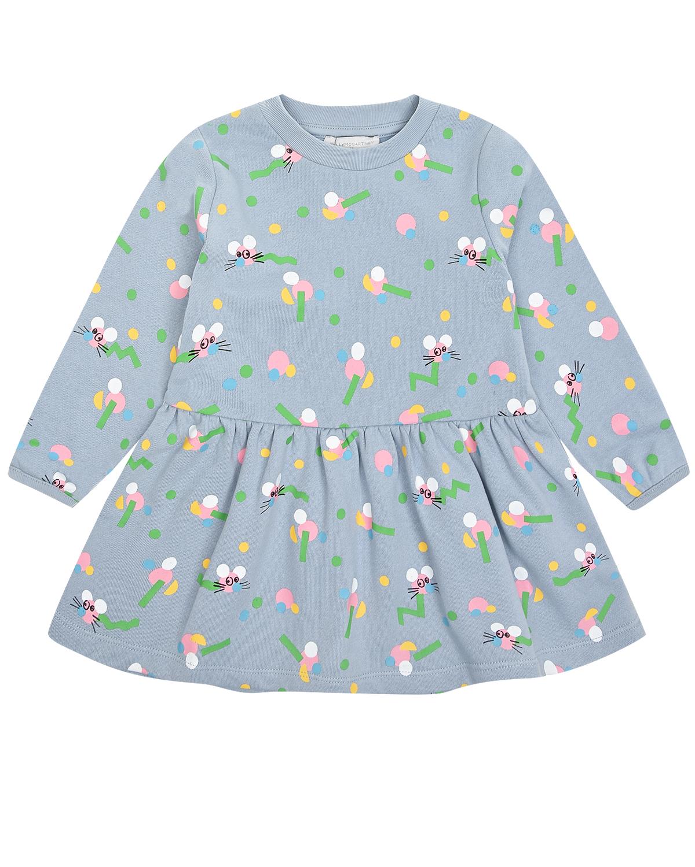 Купить Трикотажное платье с принтом розовые мышки Stella McCartney детское, Голубой, 100%хлопок, 99%хлопок+1%эластан