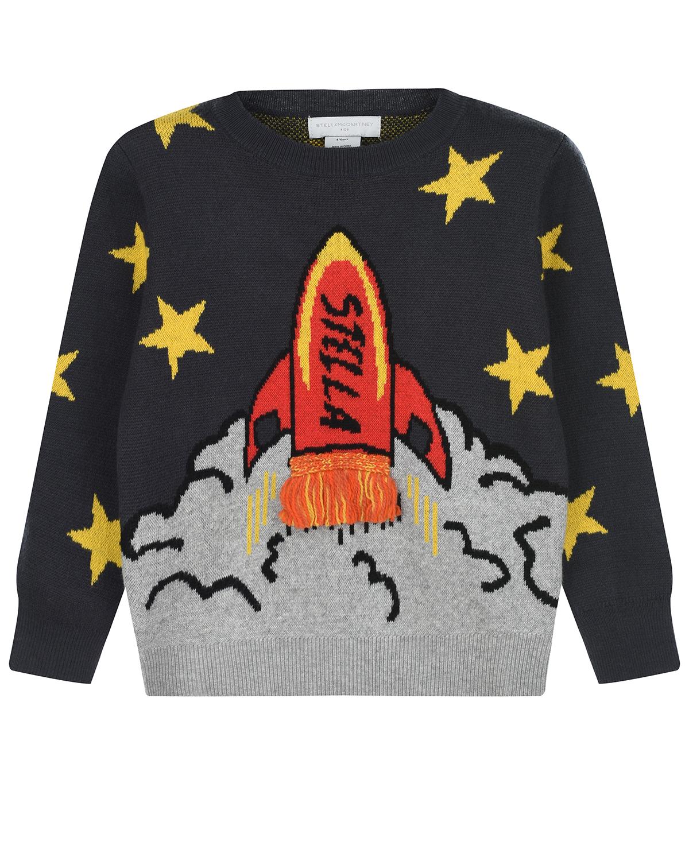 Купить Джемпер с декором ракета Stella McCartney детский, Черный, 95%хлопок+5%шерсть, 70%шерсть+30%полиамид