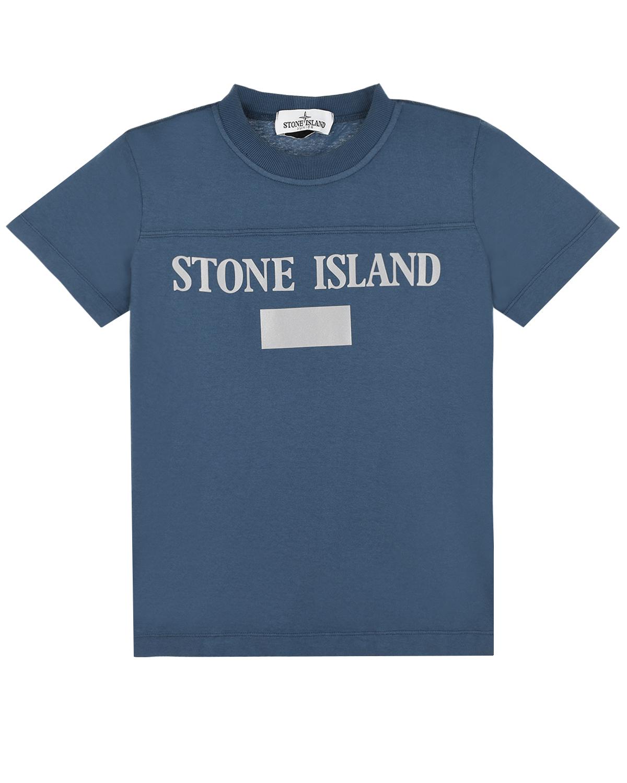 Синяя футболка со светоотражающим принтом Stone Island детская фото