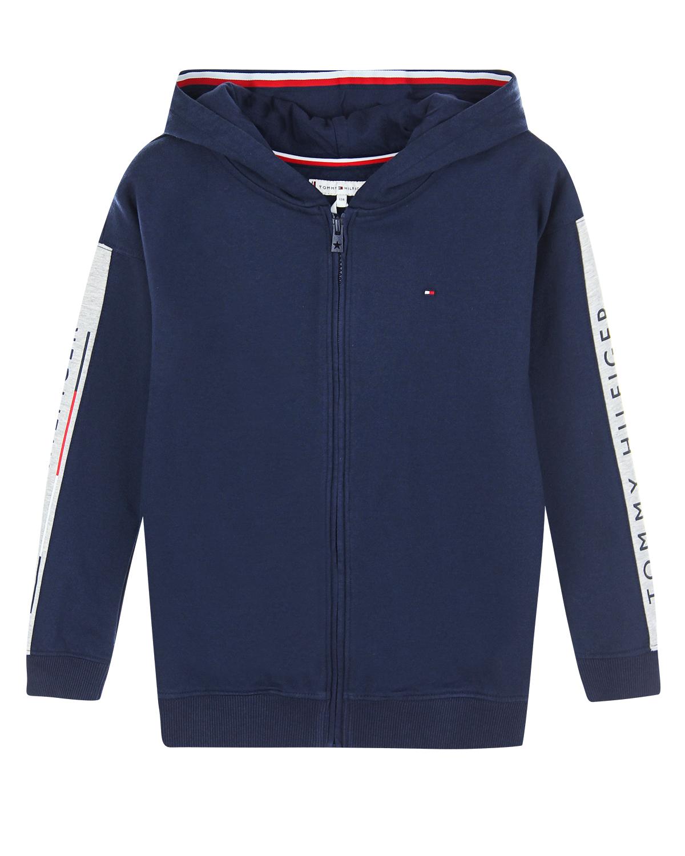 Купить Синяя спортивная куртка с капюшоном Tommy Hilfiger детская, Синий, 70%хлопок+25%полиэстер+5%эластан, 100%хлопок, 96%хлопок+4%эластан