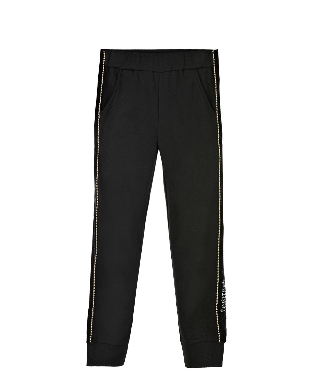 Купить Спортивные брюки со стразами TWINSET детские, Черный, 68%вискоза+27%полиамид+5%эластан, 100%полиэстер, 100%полиамид