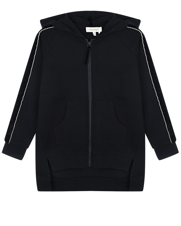 Купить Черная спортивная куртка с капюшоном и стразами TWINSET детская, Черный, 68%вискоза+27%полиамид+5%эластан, 100%полиэстер, 100%полиамид