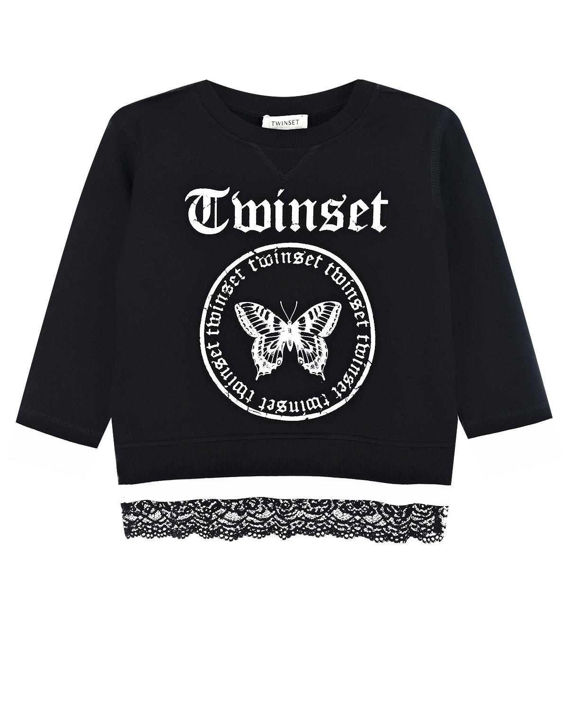 Купить Черный свитшот с принтом бабочка TWINSET детский, 72%хлопок+28%полиамид, 100%хлопок, 95%хлопок+5%эластан, 100%полиамид