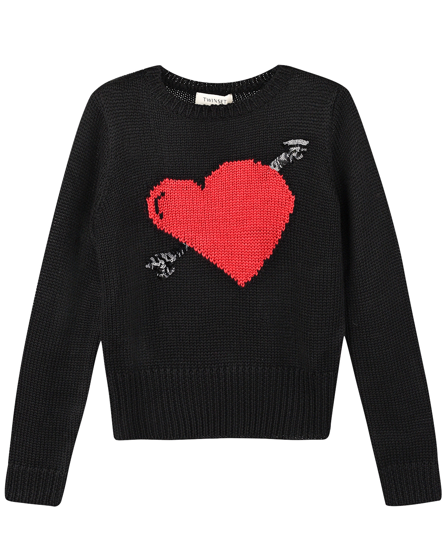 Купить Черный джемпер с декором сердце со стрелой TWINSET детский, 70%акрил+30%шерсть