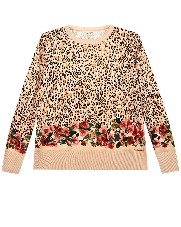 Купить со скидкой Леопардовый джемпер с цветочным принтом TWINSET детский