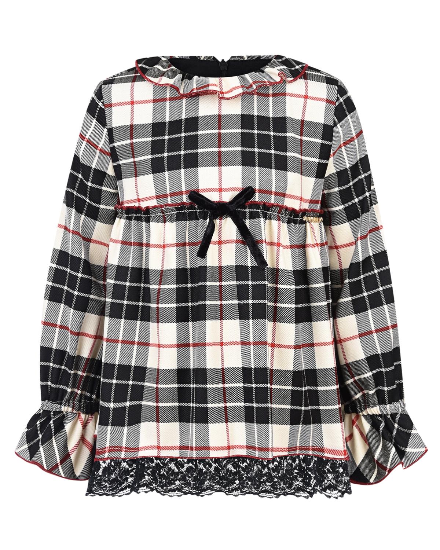 Купить Платье в клетку с кружевной отделкой TWINSET детское, Мультиколор, 54%шерсть+28%полиэстер+15%вискоза+3%эластан, 100%полиамид, 95%хлопок+5%эластан