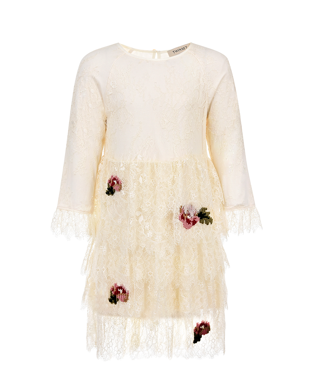 Купить Белое кружевное платье с вышивкой TWINSET детское, Нет цвета, 100%полиамид, 95%вискоза+5%эластан, 100%полиэстер