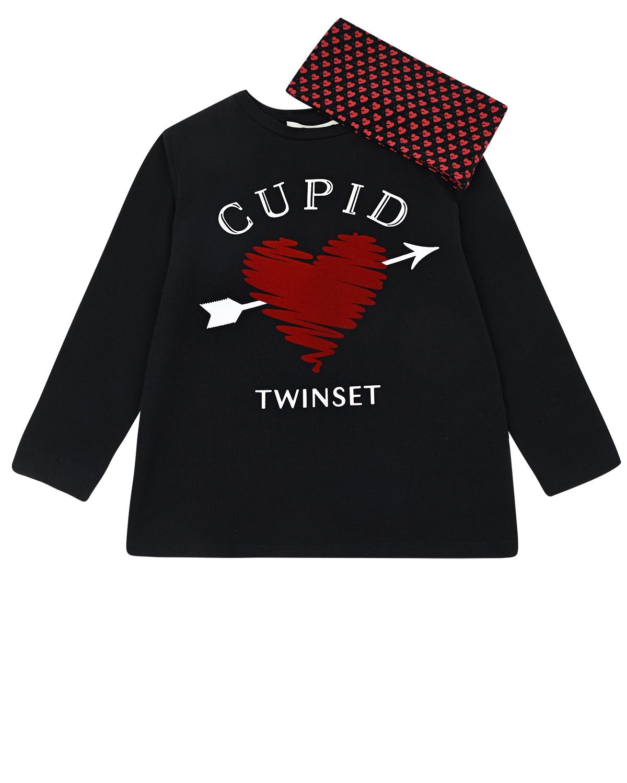 Купить Черная толстовка с принтом Cupid TWINSET детская, Черный, 95%хлопок+5%эластан