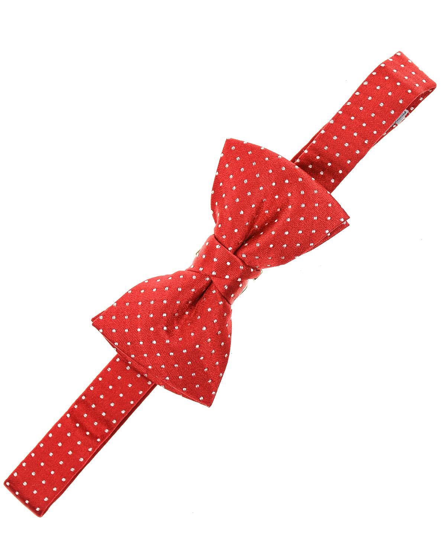 Купить Красный шелковый галстук-бабочка в горошек Vandoma детский, 100%шелк