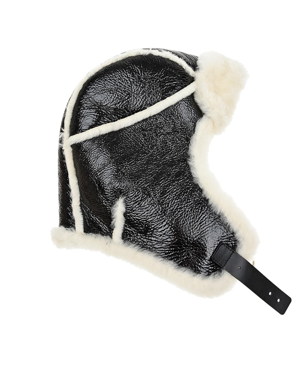 Черная шапка с отделкой из овчины Yves Salomon фото