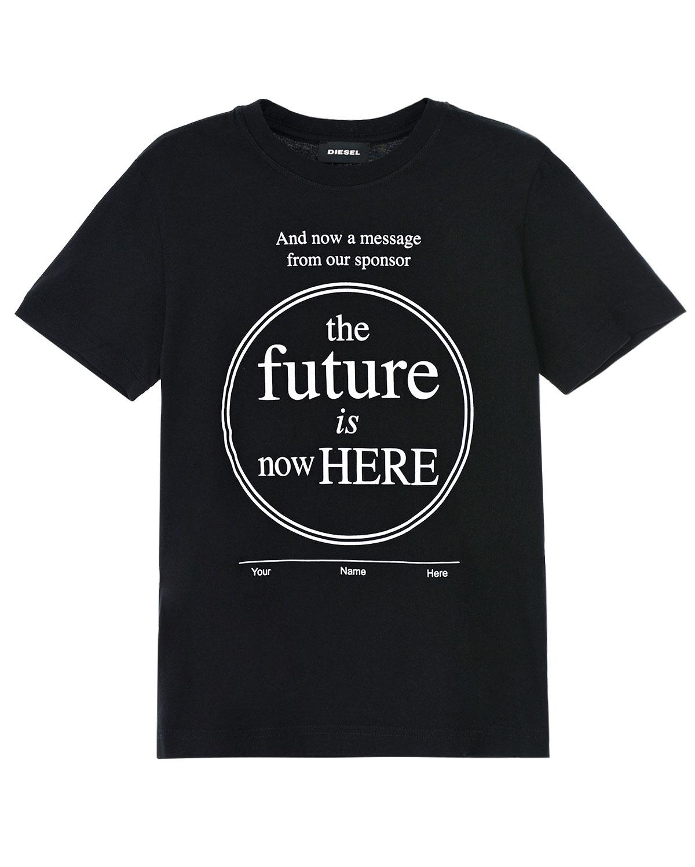 Купить Черная футболка с принтом Diesel