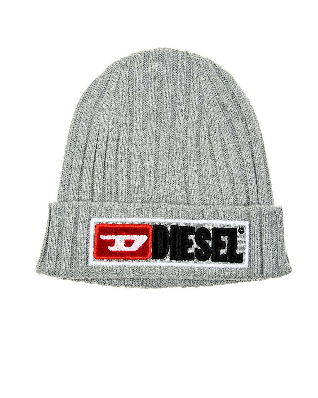Серая шапка с отворотом Diesel детская фото