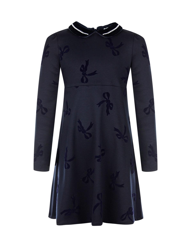 Купить Синее платье с отделкой стразами Monnalisa детское, Синий, 90%вискоза+7%полиамид+3%эластан, 60%вискоза+40%хлопок, 100%хлопок