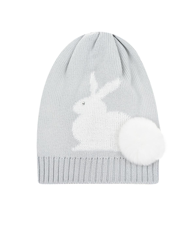 Купить Серая шапка из шерсти с декором кролик Il Trenino