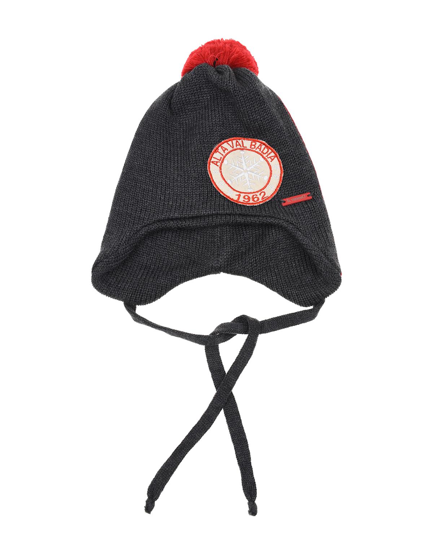 Купить Серая шапка из шерсти с помпоном и нашивкой Il Trenino