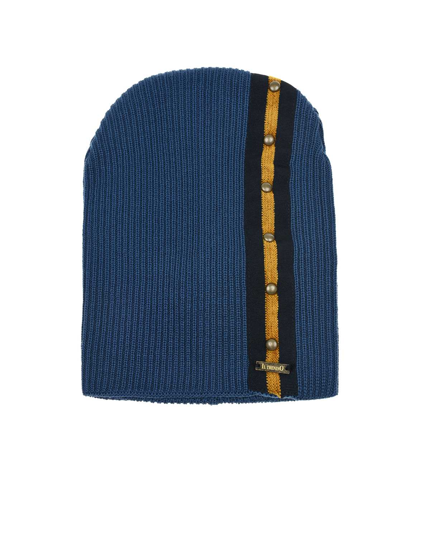Купить Синяя шапка из шерсти с клепками Il Trenino детская, Синий, 100%шерсть