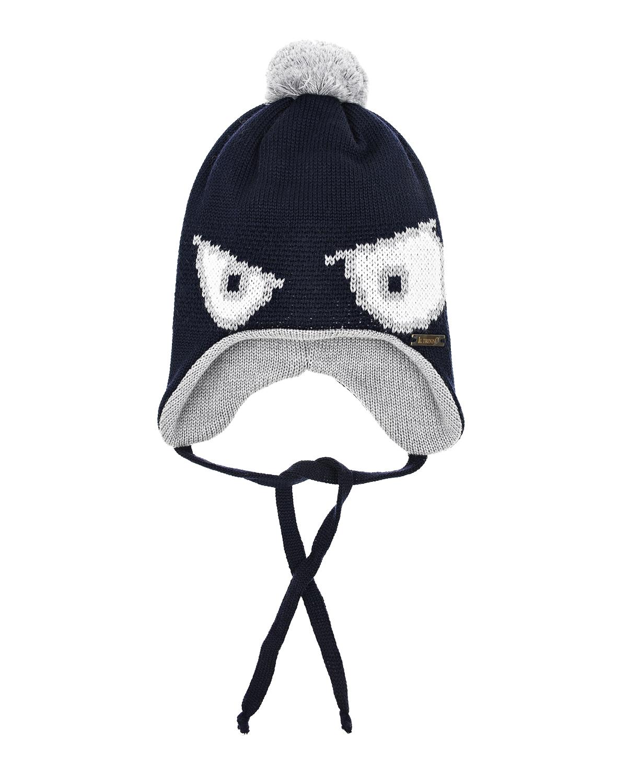 Купить Синяя шерстяная шапка с декором глаза Il Trenino