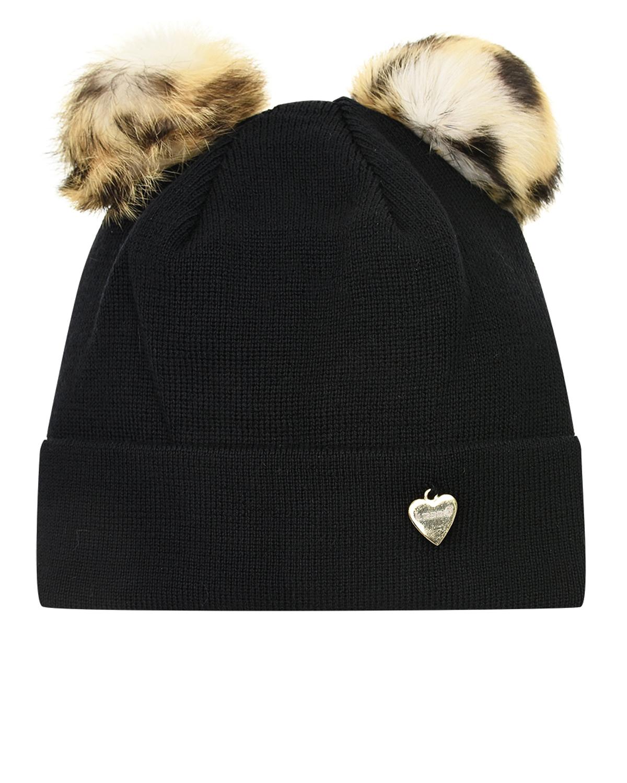 Купить Черная шапка с двумя помпонами из меха Il Trenino детская, Черный, 100%шерсть, натур.мех кролика рекс
