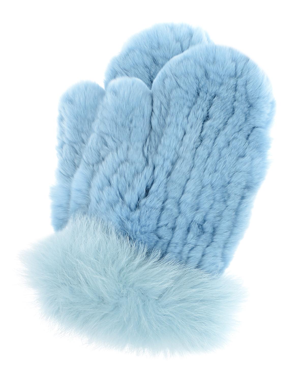 Голубые вязаные варежки из меха Yves Salomon фото
