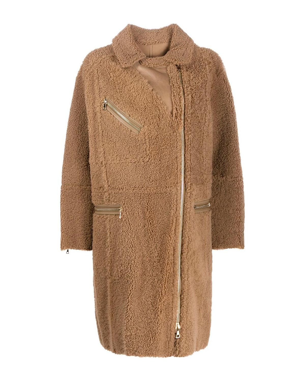 Купить Пальто oversize с асимметричной молнией Yves Salomon, Бежевый, 100%нат.кожа, 100%нат.мех