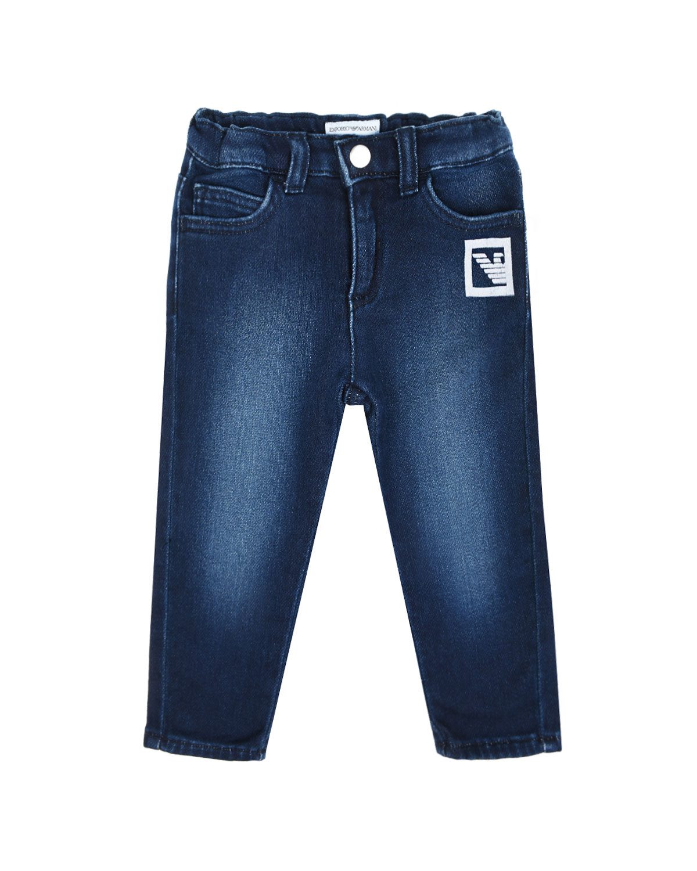 Синие джинсы с нашивкой Emporio Armani детские фото