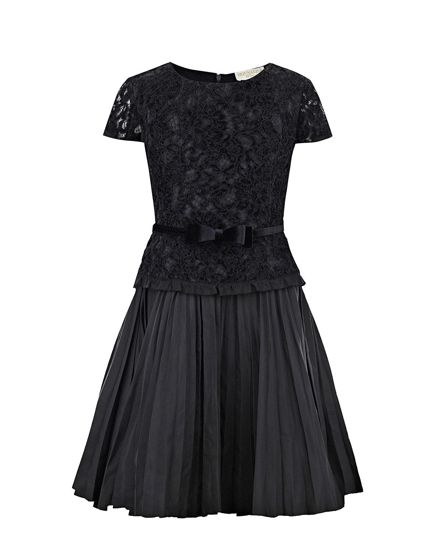 Купить Черное платье с кружевной отделкой Monnalisa детское, Черный, 100%хлопок, 100%полиамид, 56%полиэстер+22%полиамид+13%хлопок+9%вискоза, 100%полиэстер