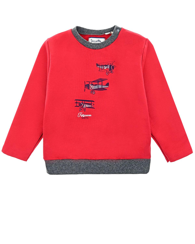 Красный свитшот с контрастной окантовкой Sanetta fiftyseven детский фото