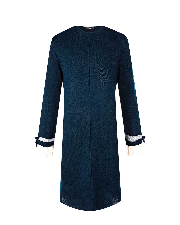 Синее платье из шерстяного трикотажа Pietro Brunelli фото