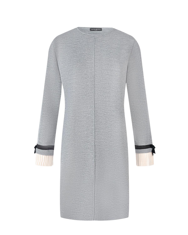 Купить Трикотажное платье с отделкой на рукавах Pietro Brunelli, Серый, 50%шерсть+45%акрил+5%вискоза