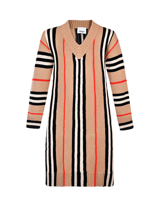 Купить Бежевое платье из шерсти и кашемира в фирменную полоску Burberry детское, Бежевый, 51%шерсть+49%кашемир