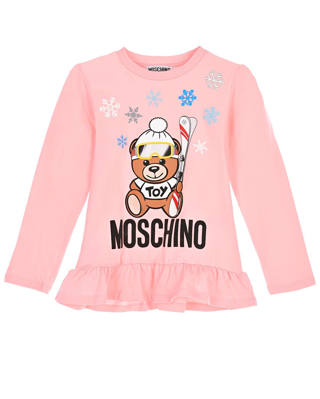 Розовая толстовка с рюшей Moschino детская фото
