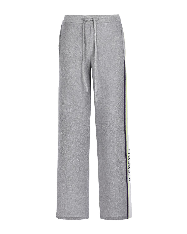 Купить Спортивные брюки из шерсти с лампасами Iceberg, Серый, 54%шерсть+32%вискоза+7%полиамид+7%полиэстер, 100%шерсть, 100%хлопок