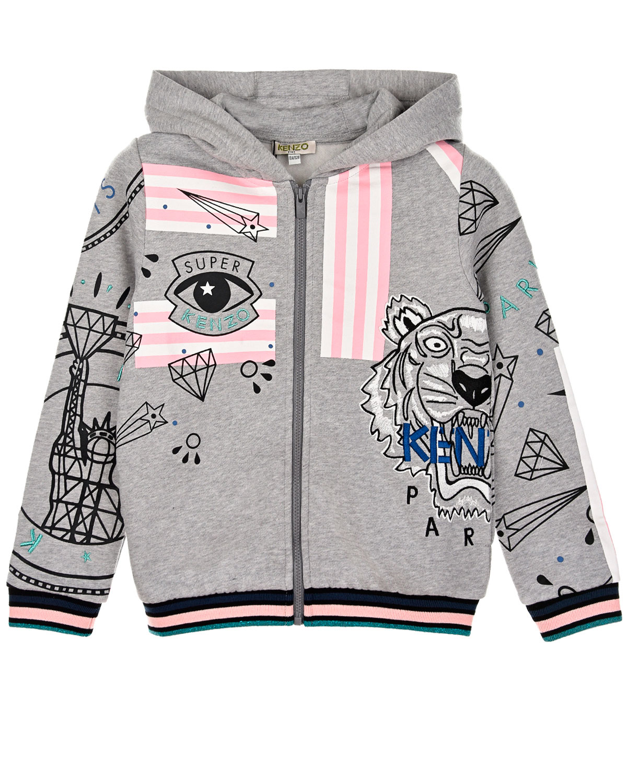 Купить Куртка спортивная с вышивкой и принтом KENZO детская, Серый, 80%хлопок+20%полиэстер, 100%хлопок