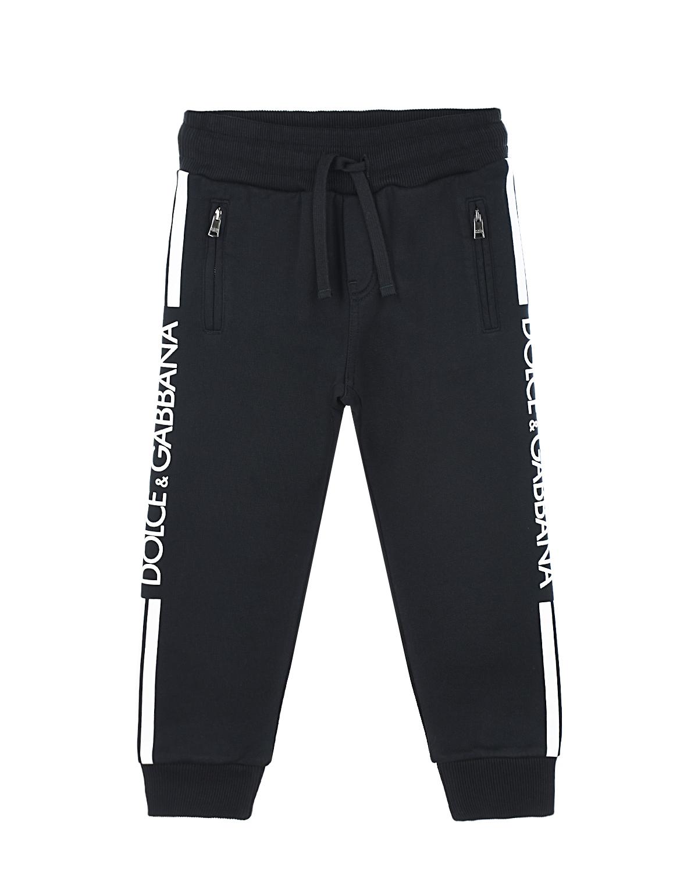 Купить со скидкой Черные спортивные брюки с лампасами Dolce&Gabbana детские