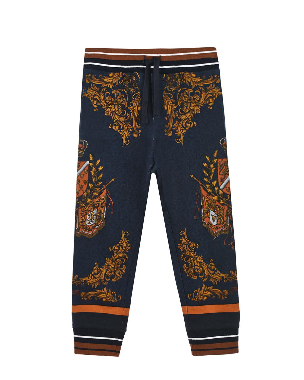 Купить Cпортивные брюки с геральдическим принтом Dolce&Gabbana детские, Синий, 100%хлопок, 95%хлопок+5%эластан