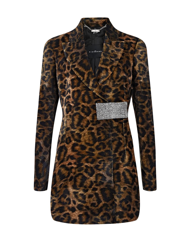Леопардовый жакет с декоративной деталью John Richmond фото