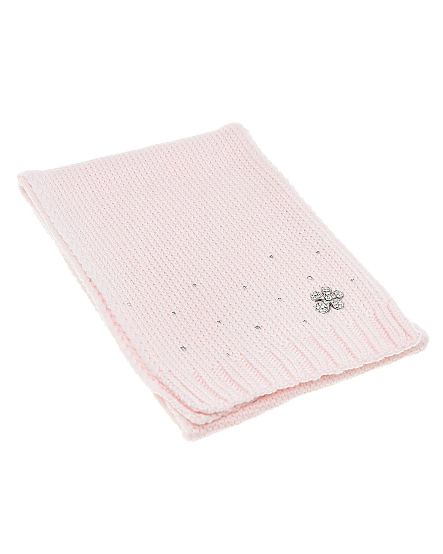 Купить Розовый шарф с декором из страз, 18*120 Joli Bebe детский, 100%шерсть