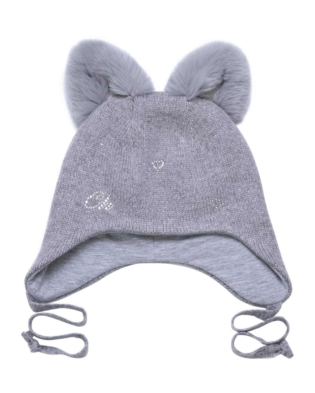 Купить Серая шапка с меховыми ушками Chobi детская, Белый, 40%шерсть+35%вискоза+10%полиамид+10%кашемир+5%ангора, 98%хлопок+2%эластан, 100%мех кролика