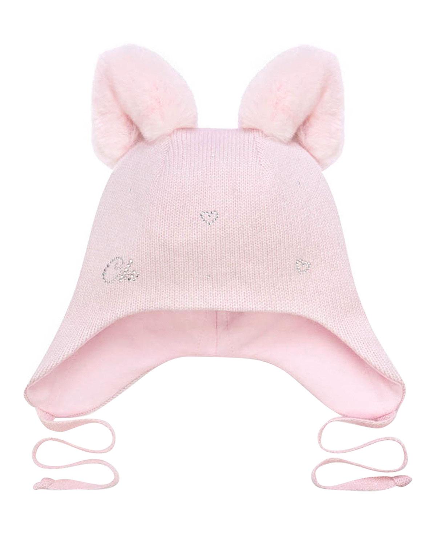Купить Розовая шапка с меховыми ушками Chobi детская, Белый, 40%шерсть+35%вискоза+10%полиамид+10%кашемир+5%ангора, 98%хлопок+2%эластан, 100%мех кролика