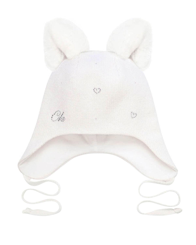 Купить Белая шапка с меховыми ушками Chobi детская, Белый, 40%шерсть+35%вискоза+10%полиамид+10%кашемир+5%ангора, 98%хлопок+2%эластан, 100%мех кролика