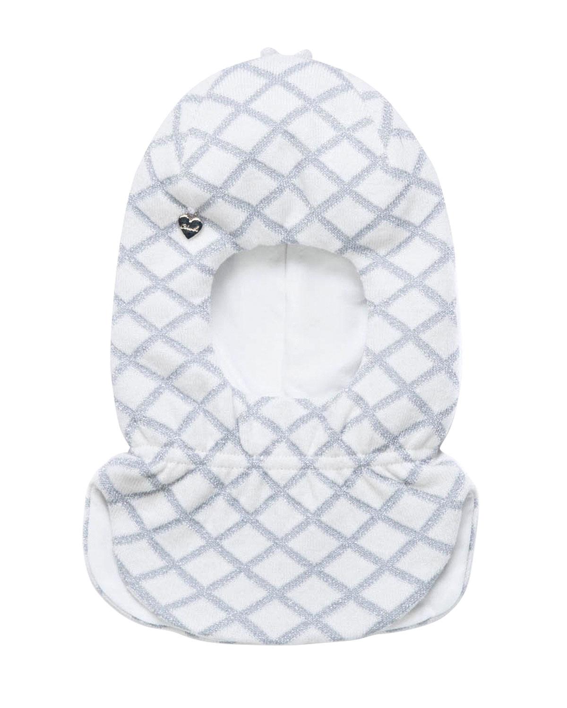 Купить Белая шапка-шлем с люрексом Chobi детская, Белый, 40%шерсть+35%вискоза+10%полиамид+10%кашемир+5%ангора, 98%хлопок+2%эластан