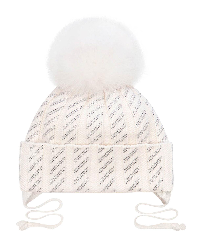 Купить Белая шапка с меховым помпоном и стразами Chobi детская, Белый, 40%шерсть+35%вискоза+10%полиамид+10%кашемир+5%ангора, 98%хлопок+2%эластан, 100%мех песца