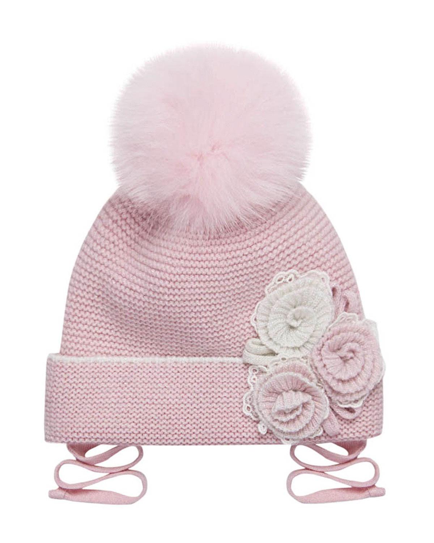 Купить Розовая шапка с меховым помпоном и цветами Chobi детская, Розовый, 40%шерсть+35%вискоза+10%полиамид+10%кашемир+5%ангора, 98%хлопок+2%эластан, 100%мех песца
