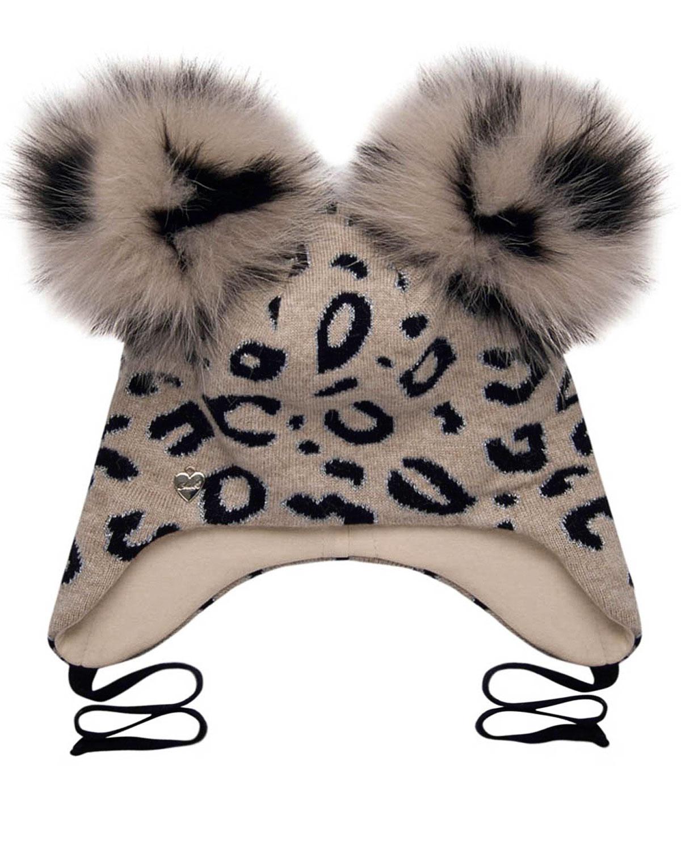 Купить Бежевая шапка с леопардовым принтом Chobi детская, Бежевый, 40%шерсть+35%вискоза+10%полиамид+10%кашемир+5%ангора, 98%хлопок+2%эластан, 100%мех песца