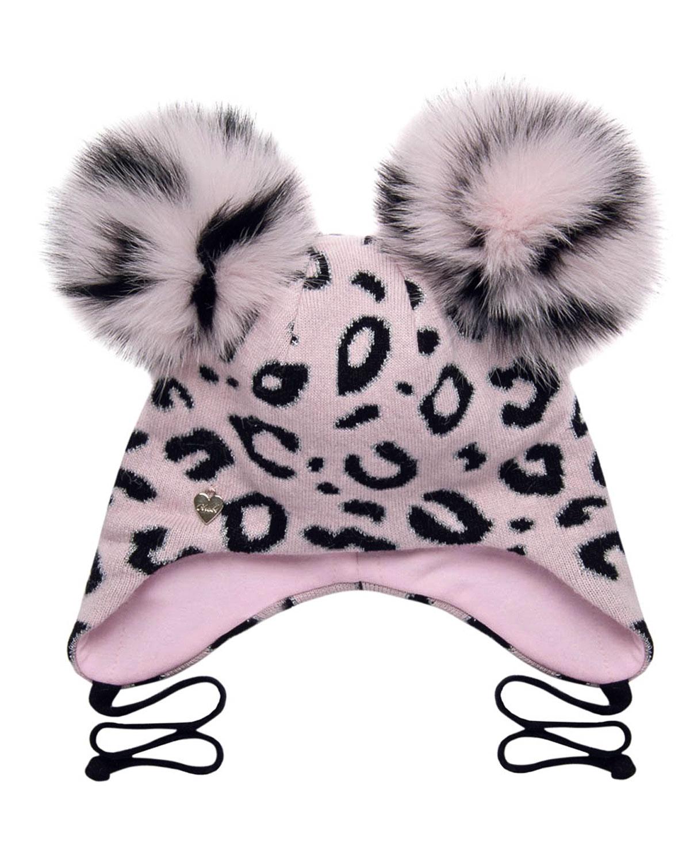 Купить Розовая шапка с леопардовым принтом Chobi детская, Бежевый, 40%шерсть+35%вискоза+10%полиамид+10%кашемир+5%ангора, 98%хлопок+2%эластан, 100%мех песца