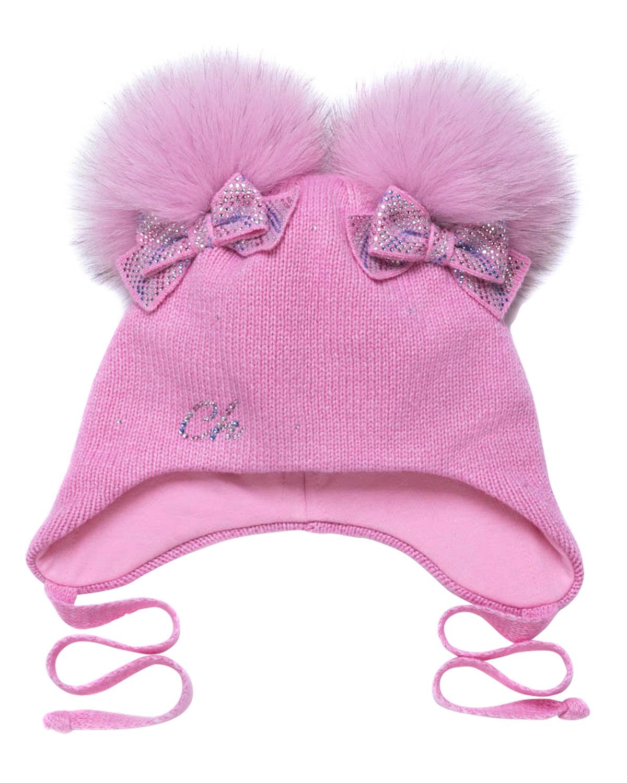 Купить Розовая шапка с бантами и меховыми помпонами Chobi детская, Розовый, 40%шерсть+35%вискоза+10%полиамид+10%кашемир+5%ангора, 98%хлопок+2%эластан, 100%мех песца
